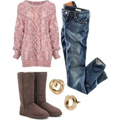 A fashion look from October 2012 featuring H&M jeans, UGG Australia boots and Michael Kors earrings. Browse and shop related looks.