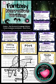 This resource compliments the Grade 5 Australian National Curriculum English unit one.  Included in it is a set of charts outlining what a fantasy story is and the components that make up the narrative: Characterisation, setting and plot, themes, quests. Using word clines to choose precise vocabulary (there are 6 worksheets for the children to have a go at building a word cline and one blank for their own vocabulary choices)