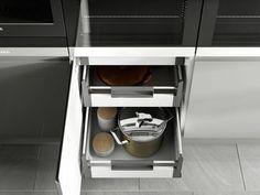 Grey Kitchen Cupboards, Kitchen Cupboard Doors, Kitchen Design, Kitchen Ideas, Shoe Rack, Pewter, Color Schemes, Contemporary, Interior