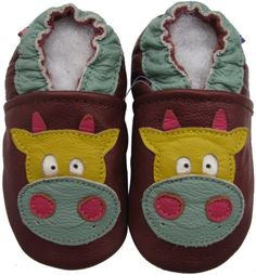 Carozoo Unisex Soft Sole Leather Baby Shoes Infant Toddler Kids Slippers Little Flower Red