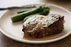 Grilled Steaks with Blue Cheese Garlic Sauce by @Angie McGowan (Eclectic Recipes)