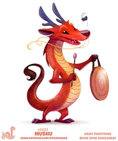 Daily Paint Mushu I can't believe Mulan is 20 years old today! Cute Food Drawings, Cute Animal Drawings, Disney Drawings, Cartoon Drawings, Colorful Animals, Cute Animals, Animal Puns, Cute Fantasy Creatures, Dragon Art