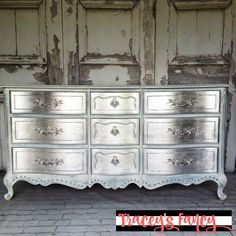 Metallic Silver Furniture. How to DIY this metallic finish and add silver leafings for a little Hollywood glam in your home | Traceys Fancy - Fancied Up and Funkified