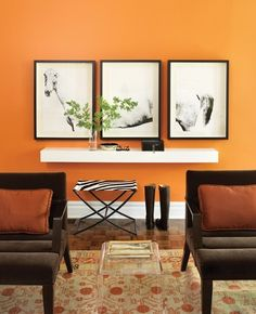 Hermes orange wall color Photographer: Donna Griffith  Source: House  Home September 2008 issue Products: Elana lounge chair by Bright Chair