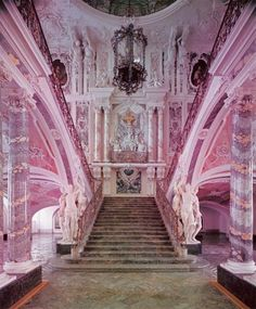 """a-l-ancien-regime: """" Augustusburg palace; it is perceived as a typical specimen of rococo style """" Augustusburg Palace, Brühl. The famous staircase was designed by Johann Balthasar Neumann. Pretty In Pink, Pink Love, Style Hipster, Pink Palace, I Believe In Pink, Pink Houses, Stairway To Heaven, Pink Marble, Grand Entrance"""