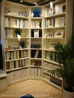 Tons of great storage and organization ideas from IKEA! (I could never come up with this on my own - wish they'd build an IKEA store near St. Home Organization, Interior, Home, Corner Bookshelf Ikea, Bookcase, Ikea, Ikea Bookshelves, Corner Bookshelves, Ikea Shopping