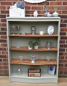 painted bookshelves (in ivory though!)with shelves still original wood. Done and Done.