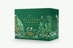Hellstrøm Sommer branding and packaging by Erika Barbieri and Henrik Olssøn, illustration by Bendik Kaltenborn and photography by Elin Eike Worren Tea Packaging, Beverage Packaging, Brand Packaging, Packaging Design, Branding Design, Branding Ideas, Identity Branding, Buch Design, Design Design