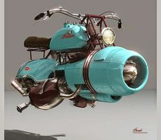 """steam-on-steampunk: """" DALI'S HOVER BIKE Indian """"jet engine"""" hover bike commissioned by:Salvador Dali for his birthday complete with mustache bars. """"Flyer Concept""""  By : John Barous 2015 -  Docent, The Salvador Dali. Hover Bike, Hover Car, Steampunk Watch, Steampunk Accessories, Steampunk Clothing, Jet Engine, Plane Engine, Harley, Dieselpunk"""