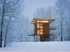 Small Buildings With a Big Impact: 'Small Architecture Now!' Diminutive Design in 'Small Architecture Now! Casas Containers, Cabin In The Woods, Snowy Woods, Sweet Home, Winter Cabin, Snow Cabin, Winter House, Cozy Winter, Forest Cabin
