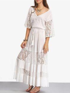 Vestido Longo com Detalhes de Renda - Compre Online