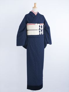 ジャスミン 着物・紺 | DOUBLE MAISON Yukata Kimono, Lace Kimono, Kimono Abaya, Japanese Outfits, Japanese Fashion, Japanese Clothing, Traditional Japanese Kimono, Modern Kimono, Japanese Costume