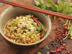 Sichuan Shirataki Sesame Noodle Salad With Cucumber, Sichuan Peppercorn, Chili Oil, and Peanuts (Vegan)