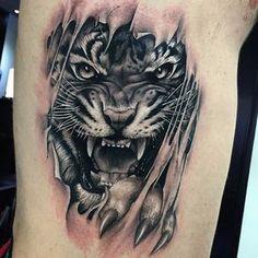 Wolf Tattoos - 84 Wolf Tattoo on Leg - Tiger Tattoo Thigh, Tiger Face Tattoo, Tiger Tattoo Sleeve, Tiger Tattoo Design, Sleeve Tattoos, Tattoo Designs, Wolf Tattoos, Animal Tattoos, Leg Tattoos
