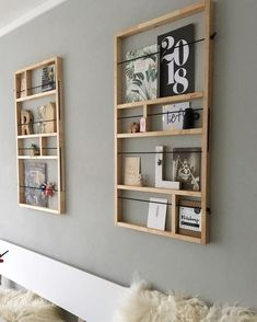 wall - DIY, Wohnen & Deko - Shelves in Bedroom Decor Room, Living Room Decor, Diy Home Decor, Shoji Doors, Diy Casa, Home And Deco, Design Crafts, Diy Crafts, Creative Crafts
