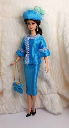 Ooak Handmade Sky Blue Silk Outfit Dress & Bag Hat Jewelry Barbie Silkstone Doll #Sitar_Large_Super_Rich