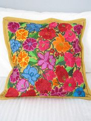 Embroidered Pillow Cove | Beige | Chiapas Bazaar | Handmade Mexican Blouses, Accessories & Home Decor from Rural Artisans