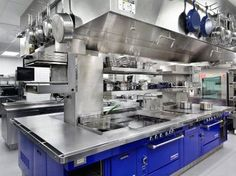 Not quite residential but wowza, one of the most gorgeous industrial kitchens ever. Hawksworth Restaurant. Stainless steel & cobalt blue kitchen.