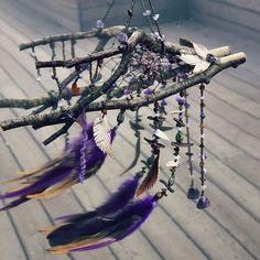 "Dreamcatcher ""Dreams near fairie's hill"" #dreamcatcher #dreamcatchers #dreamcatchercardecor #mirror #fairies #fairy #dreams #magic #night #ловушкаснов #ловецснов #ручнаяработа #сон #зеркало #handmade #amethyst #feathers #luciddreams #violet #zoisite #minerals #gemstone #witchcraft"
