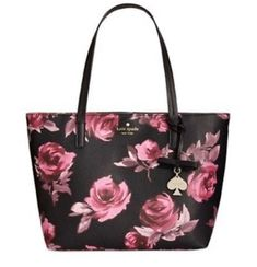 Romantic roses cover kate spade new yorks signature tote complete with a minimalist interior that leaves room for larger items such as your laptop or tablet. A tab clasp closure secures the top with Fashion Handbags, Purses And Handbags, Fashion Bags, Fall Handbags, Kate Spade Handbags, Handbags Michael Kors, Handbag Accessories, Fashion Accessories, Backpack Purse