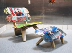 Venice Lounger recycled skateboard chair by RowanDesign1 on Etsy, $500.00