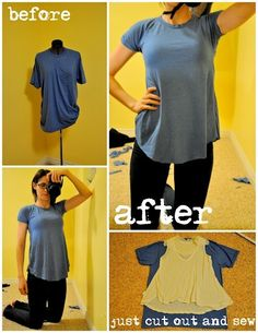 Turning a simple tee into a cute flowy tee !