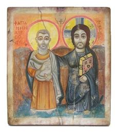 Santi e Trinità : Cristo con San Mena Eritrean, Jesus, Miniatures, Culture, Baseball Cards, History, Painting, Food, Christ