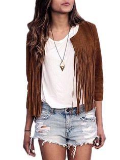 Tassel Fabulous Crew Neck Jackets #ClothingOnline #PlusSizeWomensClothing #CheapClothing #FashionClothing #womenswear #sexydress #womensdress #womenfashioncasual #womensfashionforwork  #fashion #womensfashionwinter