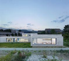The new Prangins kindergarten is conceived as one big house that has been placed on a sloping site. The cruciform structure resulting from the interlocking v...