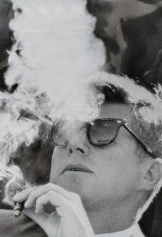 President John F Kennedy Smoking Archival Photo