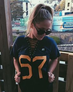 WEBSTA @ chicteesbyallyb - new WVU lace up jersey! Order your now at www.etsy.com/shop/chicteesbyallyb because I only have three!!!! 💙💛🏈 order now to get just in time for October 1st game:)
