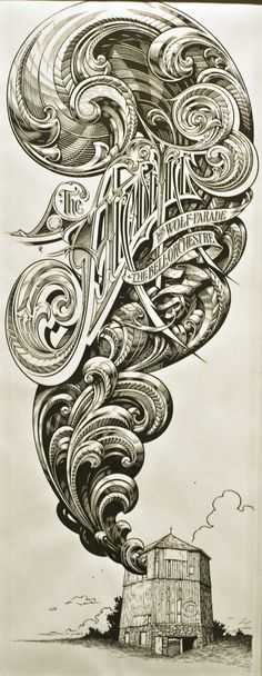 Typography meets art - holy smokes this is great.   The Arcade Fire Drawing by Aaron Horkey