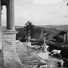 Nashville Tennessee State Capitol View of North Nashville from the steps of The Capitol showing Cover Cannons of the Union Army  Circa: Civil War