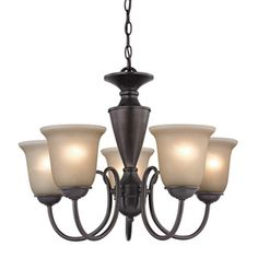"""Possible dining room light for farmhouse. 18"""" height. Need to add pull-chain. Westmore Lighting Bellwood 5-Light Oil Rubbed Bronze Chandelier on Lowes.com"""