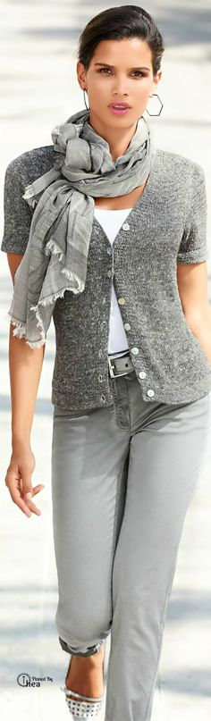 My fave grey on grey. Well done. Casual,clean weekender casual. Walking about clothes.