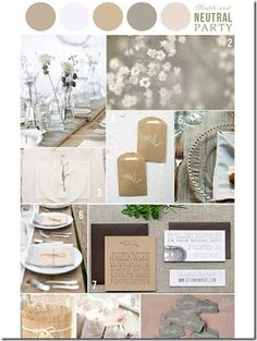 Gray & Neutral wedding color palate. Can be dressed up or down by adding or removing hues of the same color.