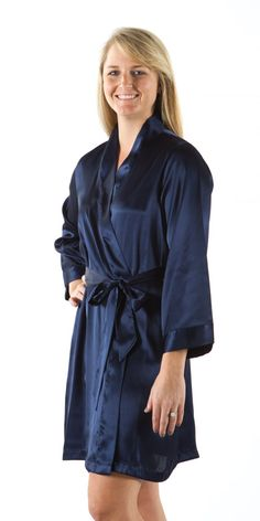 Kimono Style Plain Robe (Navy Blue) www.weddingprepgals.com