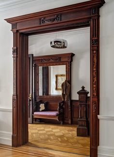 woodwork details {house tour: renovated victorian brownstone} via marcus design (Mix Wood Trim) Victorian Interiors, Modern Victorian, Victorian Decor, Victorian Homes, Door Design, House Design, Moldings And Trim, Moulding, Crown Moldings