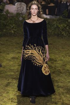 Lovely Velvet Dress accented in Gold by Christian Dior Spring 2017 Couture Fashion Show Collection
