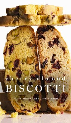 Cherry Almond Biscotti | Martha Stewart Living - Unlike many crumbly cookies, these biscotti are sturdy enough to mail. For a holiday gift, send a batch along with a pound of your favorite coffee beans.