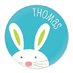 Personalised Bunny Plate Blue - $34.95 - These super cute melamine plates will be a big hit in your kids' Easter baskets or at the table for Easter brunch! #sweetcreations #kids #girls #dinnertimeisfun #personalised #dinner #gifts