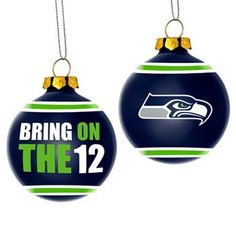 Seattle Seahawks Glass Ball Ornament, I think I need to make some glitter green/blue ones this year.