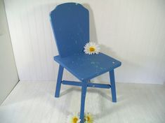 Cornflower Blue Solid Wood Chair Child Size  by DivineOrders