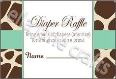 Giraffe and Mint Diaper Raffle Card PDF Instant by EllaJaneCrafts, $4.50