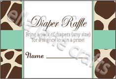 Giraffe and Mint Diaper Raffle Card PDF Instant by EllaJaneCrafts, $4.50