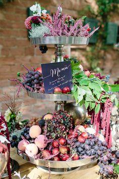 Unique fruit display | Julia Winkler Photography | see more on: http://burnettsboards.com/2014/11/berry-autumn-wedding-inspiration/