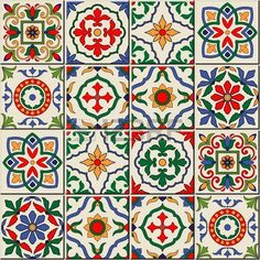 Gorgeous seamless pattern white colorful Moroccan, Portuguese tiles, Azulejo…