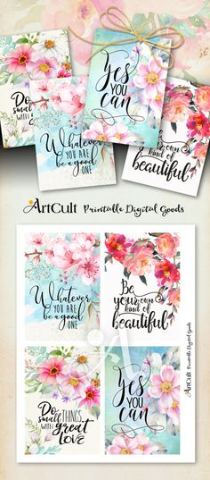 "Printable MOTIVATIONAL GREETING CARDS No.5 digital download 3.5""x5"" size images hand-painted flowers typography art for decoration and craft by ArtCult on Etsy"