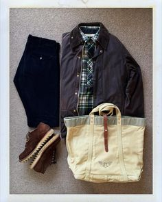 """thedailyobsessionsme: """" Today's Outfit. #Barbour #Beaufort #80's #LLBean Pullover Wool Shirts #RRL Indigo Dyed Corduroy Trousers #RRL Canvas Tote Bag #Viberg Ripple Sole Oxford #outfitoftheday..."""