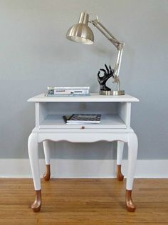 Queen Anne End Table - copper feet legs two tone dip dye white nightstand Redo End Tables, Mini Office, White Nightstand, Painted Furniture, Refinished Furniture, Furniture Makeover, Furniture Ideas, Little Houses, Queen Anne